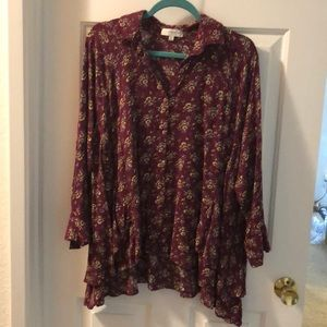 EUC Umgee+ hi lo blouse with layered hem 2XL